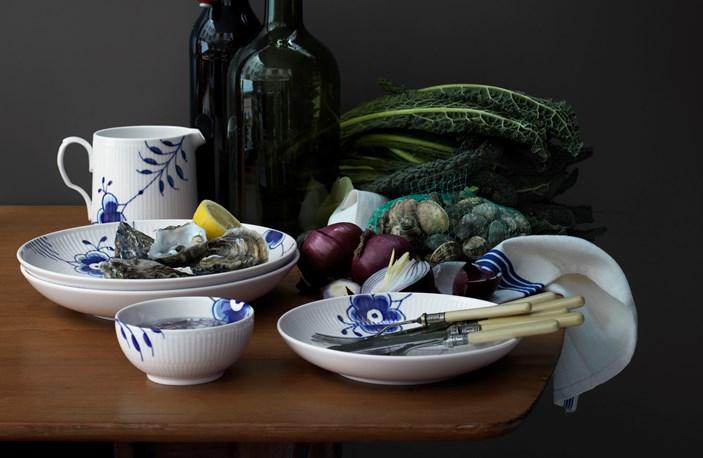 Blue Fluted Mega Modern Plates Bowl Jug